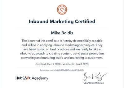 HubSpot Certified Mike Boldis Digital Strategist